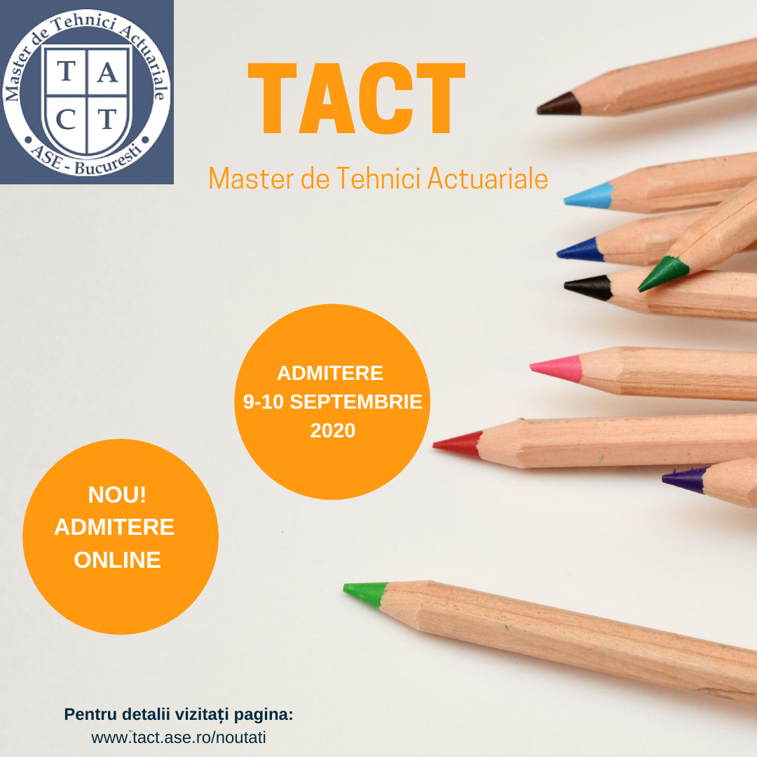 Admitere master TACT 9-10 septembrie 2020
